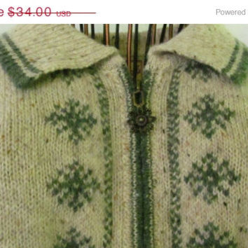 Woolrich Sweater Nordic Green Snowflake Design Zipper Pull Cardigan Sweater Womans size M Medium