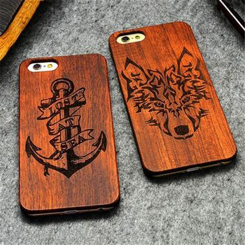 ca auguau Retro PC+Wood Skull Case for iPhone 6 4.7  Novelty Vintage Phone Cases Cover for iPhone 6s SE 5S 7 7 Plus Plastic Shell