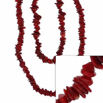Red Genuine Sea Bamboo Coral Chip One Strand Layer Necklace 36""""