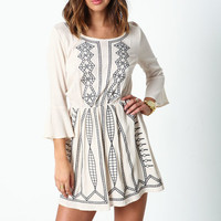 BEIGE CREPE MOON DRESS