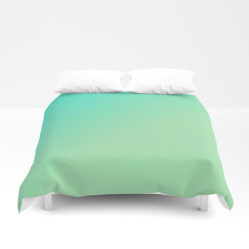 Green Ombre Glitter Look Duvet Cover by Leatherwood Design