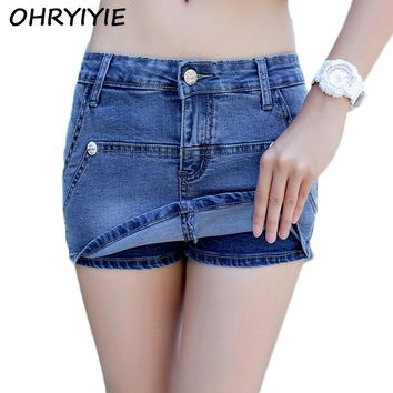 OHRYIYIE Summer Denim Shorts Women 2018 New Fashion Curling Ripped Jeans Shorts Plus Size 3XL Female Fake Two Shorts Feminino