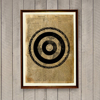 Vintage decor Archery poster Dictionary page Bullseye print