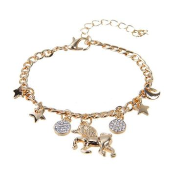 Unicorn Star Moon Pendant Bracelet (Silver, Gold)