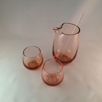 SALE - Pink Barware Pitcher with 2 Matching Glasses - Vintage Barware