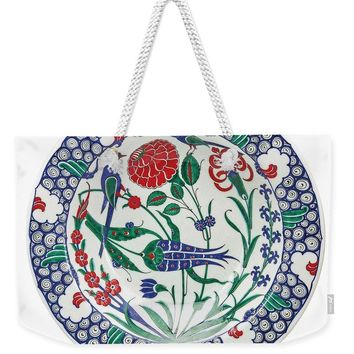 An Ottoman Iznik Style Floral Design Pottery Polychrome, By Adam Asar, No 1 - Weekender Tote Bag