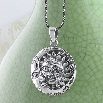 Ornate Sun and Moon Necklace