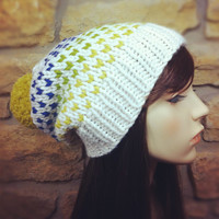 Hand Knit Hat Womens Chunky Slouchy Pom Pom Ski Hat - Ivory Citron Chartreuse and Iris - MADE TO ORDER