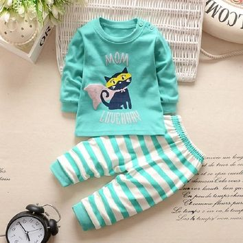JKBBSETS Winter Baby Clothing Sets For Girls Boys Cotton Long Sleeve+Pant Kid Children Baby Girl Boy Clothes Underwear Pajamas