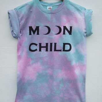 Tie Dye Shirt, Kawaii Fashion, Pastel Goth Moon Child Top, Purple Acid Wash Bleached Grunge Tumblr Graphic Tee - Size Small