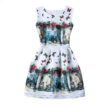 White Butterfly and Home Print Sleeveless Pleated Dress