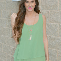 Engage In Sage Chiffon Top