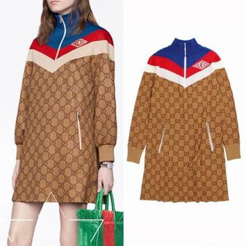 GUCCI Autumn Winter Classic Fashion Women Elegant Long Sleeve Thin Dress