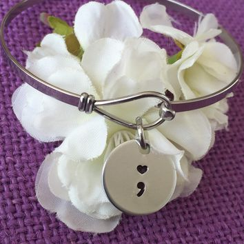 Semicolon Bracelet - Semicolon Jewelry - Suicide Awareness - Suicide Prevention - oval Bracelet - Custom hand stamped - heart semicolon