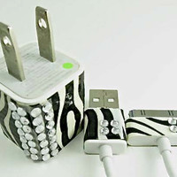 Zebra Print Wall and USB Charger with Acrylic Jewels for iPhone iPad iPod