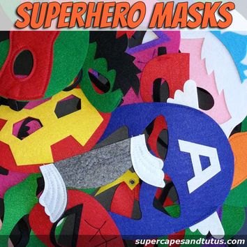 Sale! Superhero Masks - Ready to Ship / Party Favors /Gifts / Christmas Gifts / Stocking Stuffers