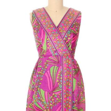 Vintage Dress Border Print Mini Dress Purple Pinks 1970S 40-32-46