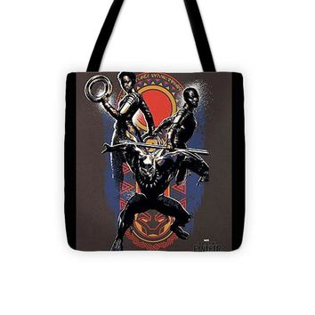 Marvel Black Panther Warrior Trio Geo Paint Pattern - Tote Bag
