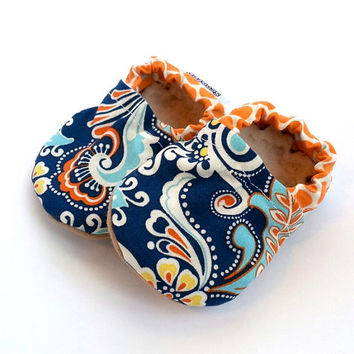 blue baby shoes blue and orange baby shoes abstract paisley baby girl shoes soft sole shoes blue shoes baby girl booties paisley clothing