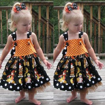 Infant Toddler Baby Girls Pumpkin Bow Party Dress  made of high quality materials  Halloween Clothes Dresses 35