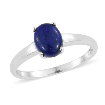 Lapis Sterling Silver Solitaire Ring