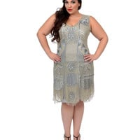 """Unique Vintage Plus Size 1920s """"The Bosley"""" Silver Beaded Flapper with Beaded Fringe Dress"""