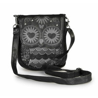 """Black Owl W/ Heart Eyes"" Mini Crossbody Bag by Loungefly (Black)"