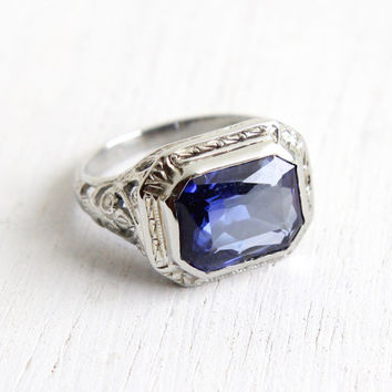 Antique 18k White Created Sapphire Ring - Vintage Art Deco Size 3 Filigree 1920s Violet Blue Stone Fine Jewelry
