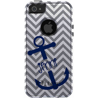 Custom OTTERBOX Commuter Series Case for Apple iPhone 5 5S - Grey White Chevron Zig Zag Stripes Blue Anchor Name Initials