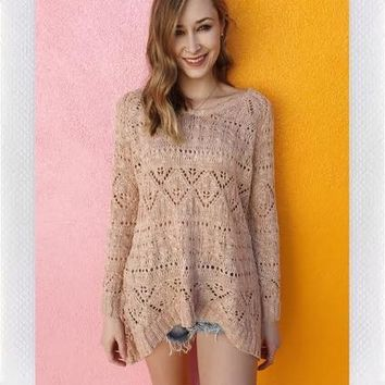ANNETTE CHUNKY KNIT- LT PINK