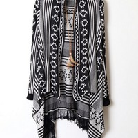 Retro Graphic Tassels Open Front Cardigan - OASAP.com