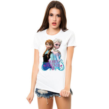 elsa and anna family forever women tshirt ----- size S,M,L,XL,2L,3XL