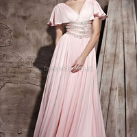 A-line V-neck Chiffon Floor-length Pink Sashes / Ribbons Evening Dress at dressestore.co.uk