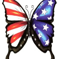 "Amazon.com: USA American Flag Freedom Butterfly Temporary Body Art Tattoos Large 6"" x 4.5\"": Clothing"