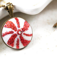 Christmas Candy Necklace, Polymer Clay