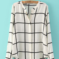 White Plaid Cuff Long Sleeve Blouse