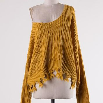 Cable Knit Sweater W/ Fringe