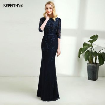 Modest Mermaid Lace Evening Dress Half Sleeves Custom Made Full Length Vintage Mother Of The Bride Dresses 2018 Vestido De Festa