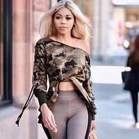 Women Camouflage Print Crisscross Bandage Long Sleeve Sweater Knotted Crop Tops