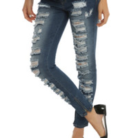 Blue Ocean Destructed Skinny Jeans