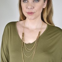 Layered Metal Accented Necklace