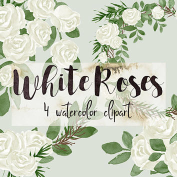 White Roses | white florals, flowers clipart, floral clipart, invitation clipart, wedding watercolor, PNG, flower wreath, wedding flowers