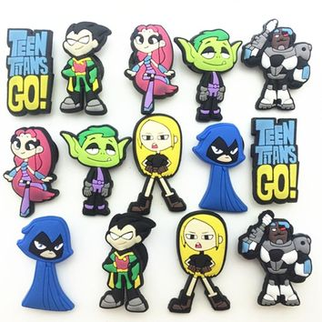 14 Pcs PVC Teen Titans Go Shoe accessories Shoe Charms Shoe Decorations  for Croc Bracelet Wristband Kid Gift