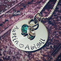 Personalized Mom Necklace with childrens names and birthstones