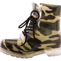 Qupid Women's PORTLAND-01 Lined Clear Lace Up Rubber Rain Boots Camouflage 6
