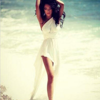 Homecoming Dress, One-shoulder High-low Beach White Short Prom Dress