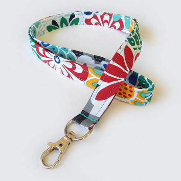 Retro Floral Lanyard / Mod Flowers / Colorful Lanyard / Key Lanyard / ID Badge Holder / Fabric Lanyard / Vintage Inspired / 60s Flower Print