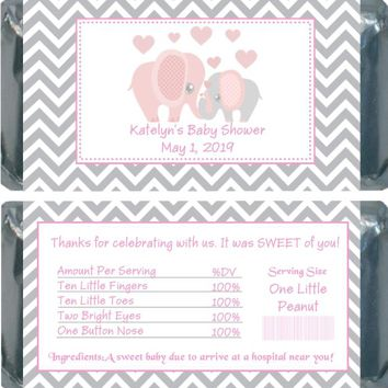 10 Pink Elephant Baby Shower Chocolate Bar Wrappers