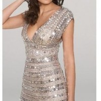 Platinum Paiette Cocktail Dresses by Scala, no more than  - $78.00