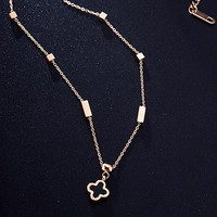 Cartier colored gold necklace with female collarbone chain rose gold simple necklace